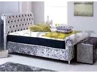 crush velvet seligh bed with same day delivery