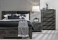Grey wood bed and bedsides - queen size