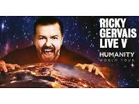 4 x Ricky Gervais Humanity Tickets Eventim London