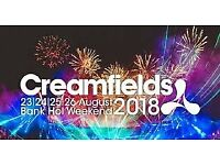 CREAMFIELDS 2018 3 DAY GOLD CAMPING TICKET (FACE VALUE)