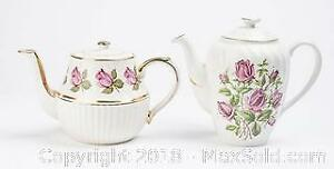 Two Vintage Rose Decorated Gold Trimmed Teapots