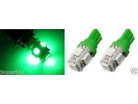 2 x T10 W5W 501 5 SMD 5050 LED ERROR FREE CANBUS CAR SIDE LIGHT WEDGE GREEN BULB