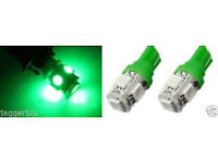 2 x T10 W5W 501 5 SMD 5050 LED HIGH POWER CANBUS CAR SIDE LIGHT WEDGE GREEN BULB