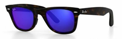 Ray Ban 2140 50 Wayfarer Dark Havana Remix 17 Azul Espejo Sunglasses...