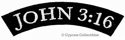 Iron Rocker - JOHN 3:16 ROCKER EMBROIDERED PATCH CHRISTIAN RELIGIOUS iron-on BIBLE VERSE JESUS