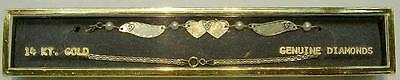New 14k Yellow Gold Winged Anklet w/3 Dia Hearts-Free Engraving & Free Shipping!