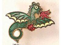 Robertsons Pre-War DRAGO DRAGON Enamel Badge/Brooch c1920s/30s Art Deco Period