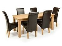Modern Extendable Solid Oak Wood Dining Table with 6 Hannah natural cow leather chairs