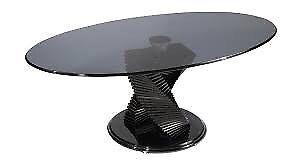 Coffee Table Tango ex DFS Black Gloss base Black glass top