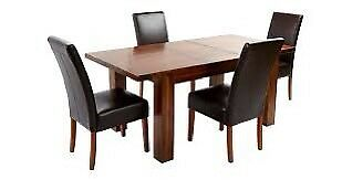 DFS brown leather dining chairs 4-6