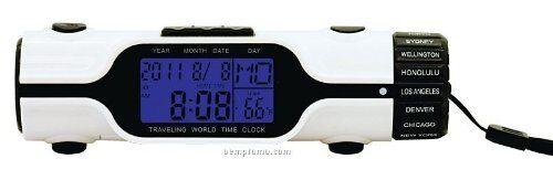 Digital LCD Travel Alarm Clock Temperature World Time Torch Day Date Calendar