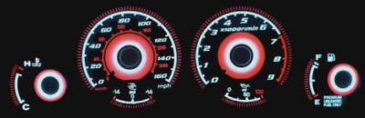 014 Gauge - Red Glow Gauges For 90-91 Nissan 300ZX Turbo Z Fairlady Z32 Overlay