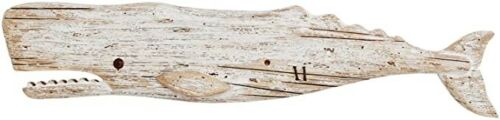 Rustic Wooden Whale Decor Hanging,Wood Sculpture Whale Home Decorations for wall