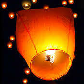 Chinese Sky Lanterns. Multiple colors.