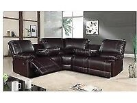 BRAND NEW CORNER RECLINER SOFA AVAILABLE IN BLACK AND BROWN COLOR SAME\NEXT DAY DELIVERY