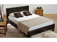 Double, dark brown, leather bed, quilted, mattress,