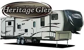 Fifth wheel heritage glen 366BH 2014, forest river whilwood