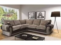 REDUCED LUCY CORNER LOUNGER - BLACK & GREY SOFA - BRAND NEW - DELIVERED NATIONWIDE