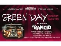 ** 2 GREEN DAY TICKETS*** HYDE PARK*** 1st JULY**