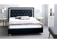Double, black, crystal, leather bed, frame, quilted, sprung, Mattress,