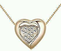 New Ladies Fashion Gold Color Double Heart Shape Decorated Necklace