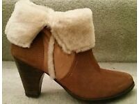 Dune Suede Ankle boots with sheepskin fur tops size 8