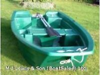 Plastic boat, dinghy, tender with built in launching wheels