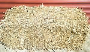 Bails of pea straw, bags of sugar cane mulch, bags lucerne