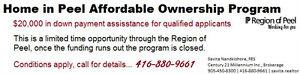 20,000$ down payment assistance - Peel Region