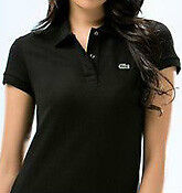 Womens LACOSTE black short sleeve classic fit pique polo Windsor Region Ontario image 2