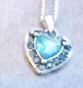 BLUE CRYSTAL HEART PENDANT AND NECLACE