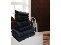 LUXURIOUS EGYPTIAN BLACK 8 PIECE TOWEL BALE - FREE POSTAGE