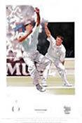 Genuine Hand Signed Darren Gough Cricket Print England Yorkshire AFTAL RD#175
