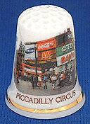 LONDON LANDMARKS - PICCADILLY CIRCUS THIMBLE - EXCLUSIVE - Fine Bone China