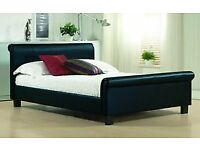 Brown Leather Double Bed