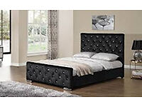 Velvet Fabric Upholstered Storage Bed Frame 4'6 Double 5 King Size