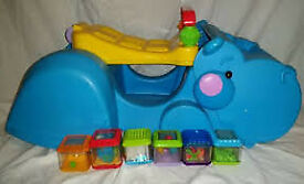 Fisher-Price Bright Beginnings Gobble & Go Hippo with Extra Peek a Blocks
