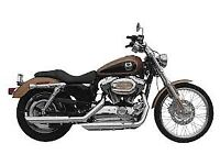 Harley Davidson Sportster chrome slip-on slash-cut mufflers.