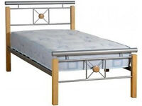 metal and wood single bed frame and sprung mattress excellent condition. CAN DELIVER