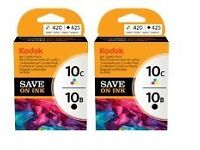 2 unopened Kodak 10B and 10C Printer Ink Cartridge Combo Packs (Black, Cyan, Magenta, Yellow)
