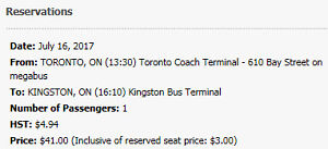 Megabus ticket Toronto to Kingston Sunday July 16