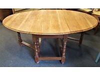 Oval Shaped Hardwood Drop-leaf Table - CHARITY