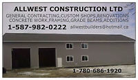 GENERAL CONTRACTING, SHOPS, GARAGES, BASEMENTS, ADDITIONS, RENOS