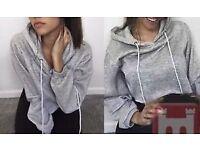 Womens Hoodie Short Sweatshirt Sports Casual Crop Jumper Pullover Sweater Top