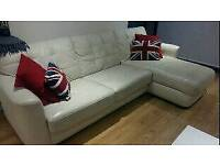DFS leather sofa bed with chaise longue with storage