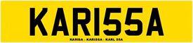 NUMBER PLATE - PRIVATE REG = KARISA - KARISSA - KARL 55A