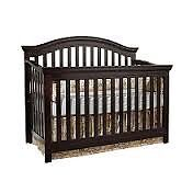 Solid wood crib with double bed rails