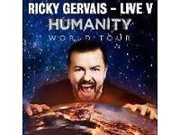 Ricky Gervais Tickets x 2 Birmingham 28/06/17 Block A