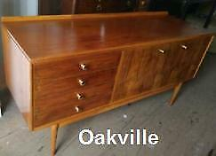 60w x 20dp x 30h MID-CENTURY BUFFET CREDENZA SOLID WOOD Mint Walnut Burl Large Low Excellent Dining MCM Vintage