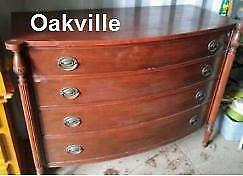 Delivery Avail ANTIQUE Chest of Drawers 48x22x37h Dresser Solid Mahogany Wood & Brass Vintage Retro Sheraton Hepplewhite